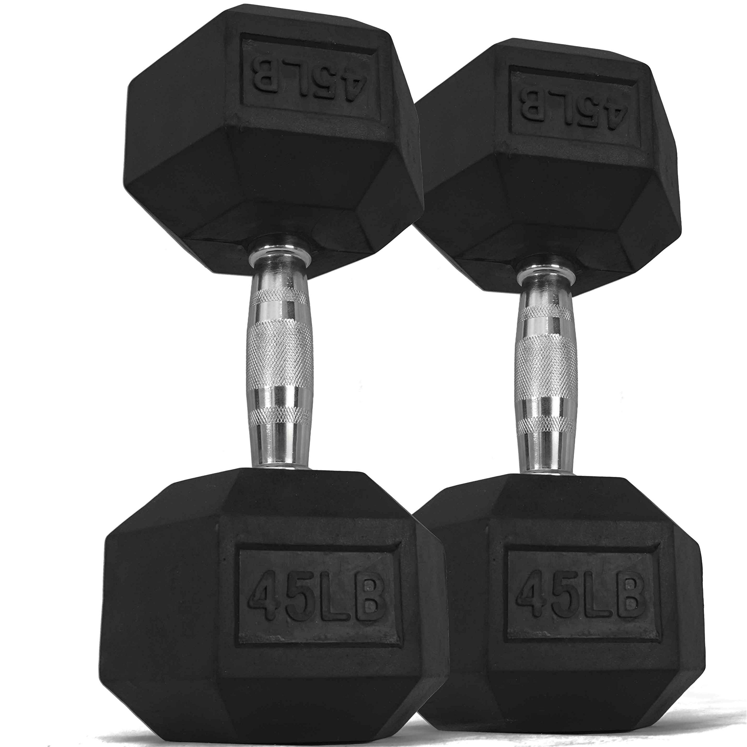 Pair 45 lb Black Rubber Coated Hex Dumbbells Weight Training Set 90 lb Fitness