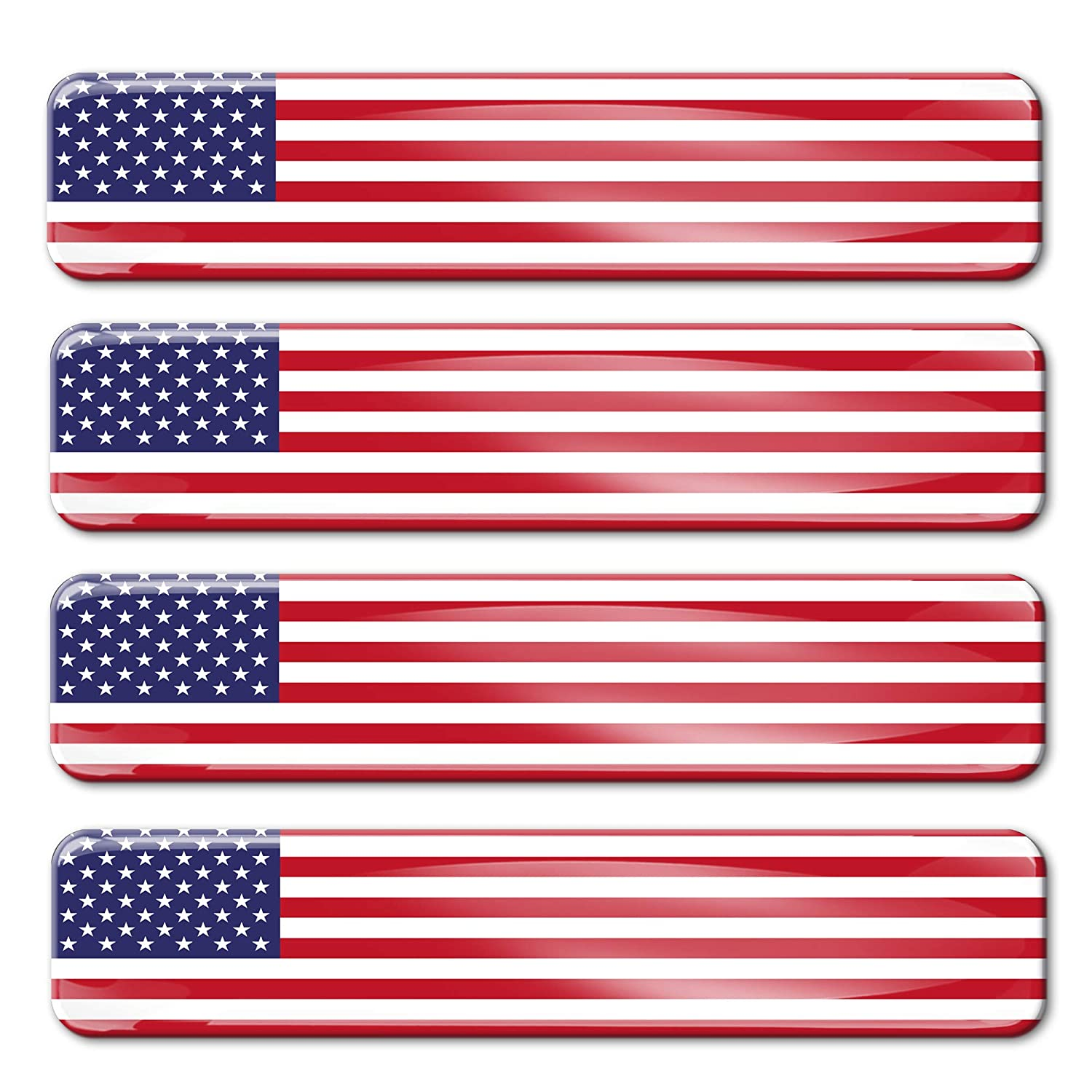 4 x Adesivi Resinati 3D Gel Stickers Divertente Bandiera Stati Uniti USA United States Of America Per Auto Moto Finestr/ìno Porta Casco Scooter Skateboard Bici PC Laptop Tablet Tuning F 27