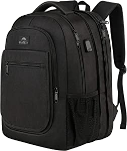 Laptop Backpack for Men, Expandable Travel Backpack for Women with USB Charger, Large Water Resistant Business Computer Bag Gift for Men Women Anti Theft School Bookbag Fits 15.6 Inch Notebook, Black