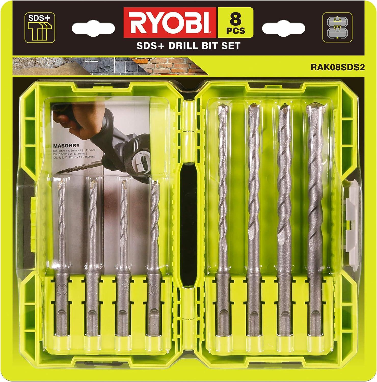 8 Piece Masonry Bit Set Ryobi RAK08SDS2 SDS