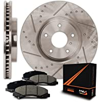 Max Brakes Premium Slotted+Drilled Rotors w/Ceramic Pads Front Perforamnce Brake Kit KT043231 [Fits 2007-2015 Mazda CX9]