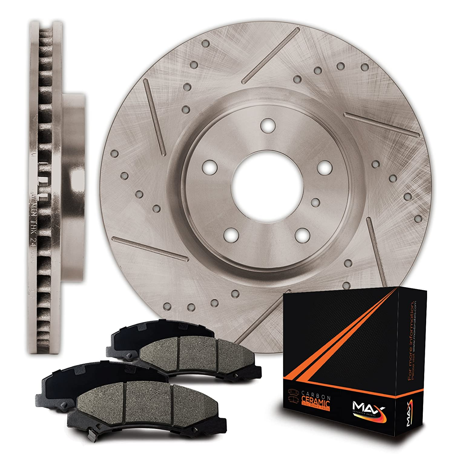 Max Brakes Premium Slotted|Drilled Rotors w/Ceramic Brake Pads Front Performance Brake Kit KT058331 [Fits:2002-2005 Ford Thunderbird | 2000-2006 Lincoln LS | 2000-2002 Jaguar S Type] Max Advanced Brakes