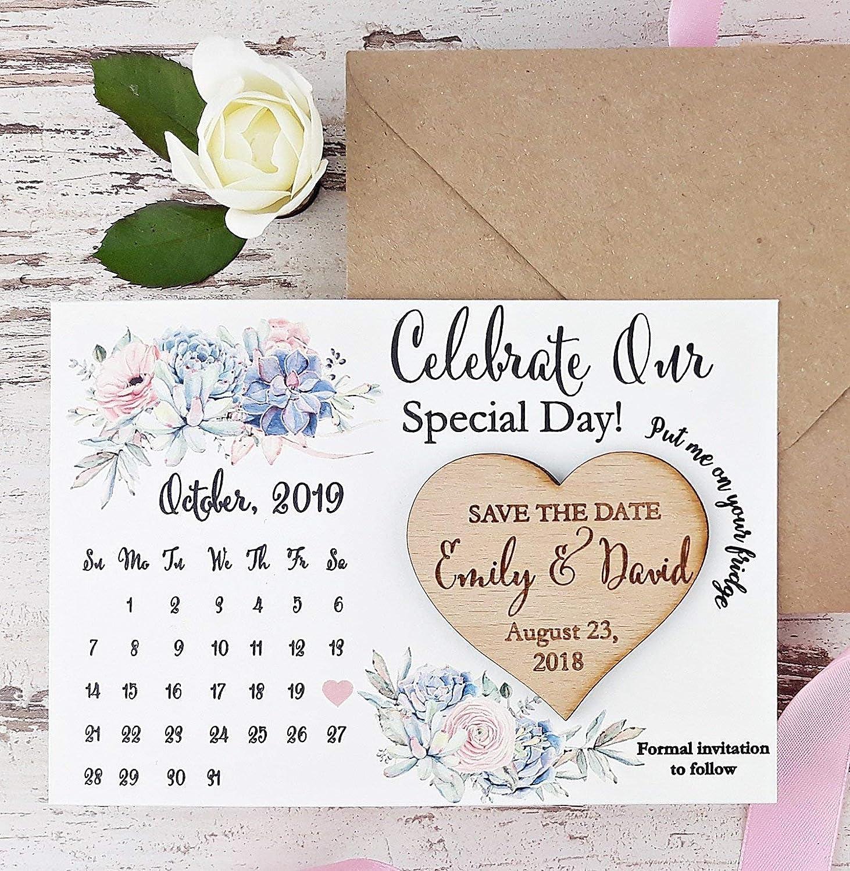 80672fe45b15a Amazon.com: Calendar Save The Date Card, Calendar Wedding Save The ...