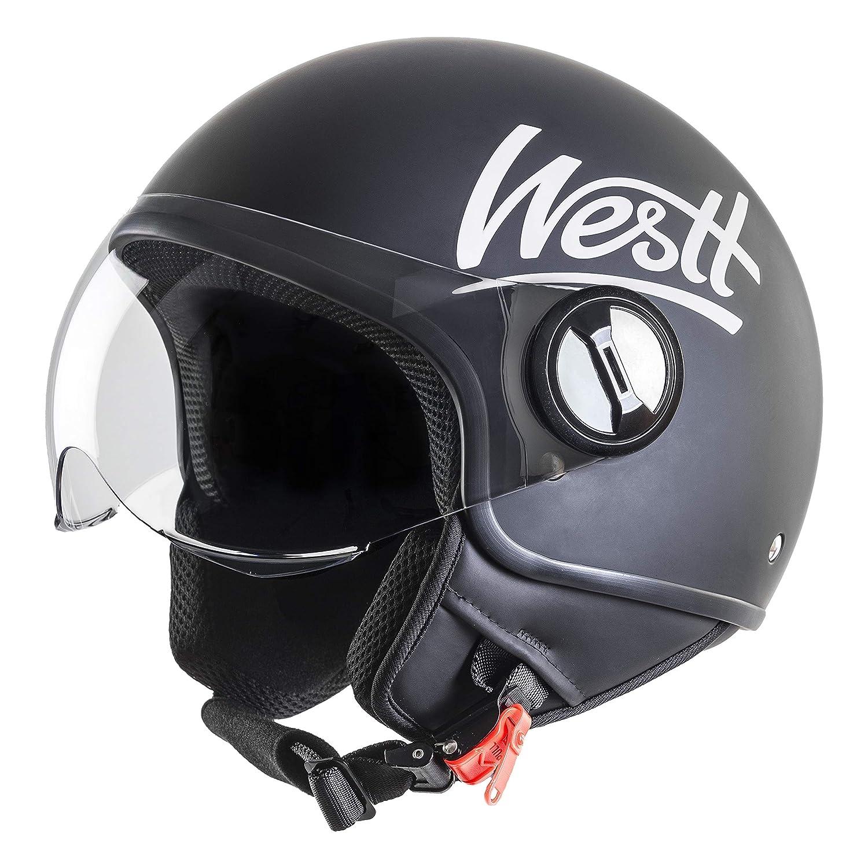 Westt Classic Casco de Moto Jet Abierto - Ligero y Duradero - Negro Mate - Certificado ECE