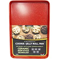 casaWare 15 x 10 x 1-Inch Ultimate Series Commercial Weight Ceramic Non-Stick Coating Cookie/Jelly Roll Pan (Red Granite…