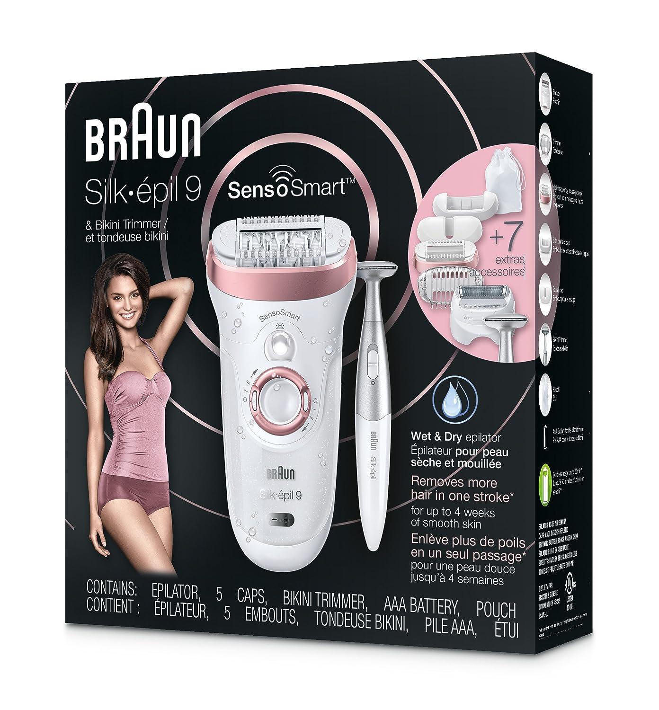 Braun Epilator, Hair Removal for Women, Series 9-890 Silk-Epil Sensosmart Epilator with Shaver and Face Bikini Trimmer
