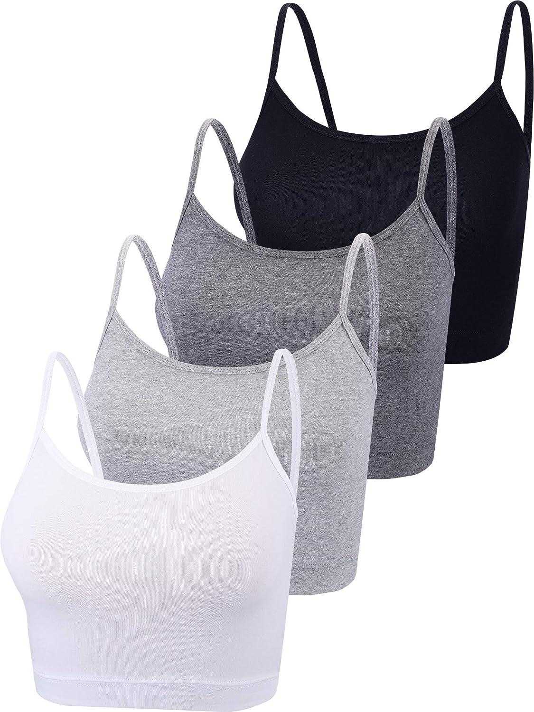 4 Pieces Basic Crop Tank Tops Cotton Sleeveless Racerback Tank Top Women Sports Top
