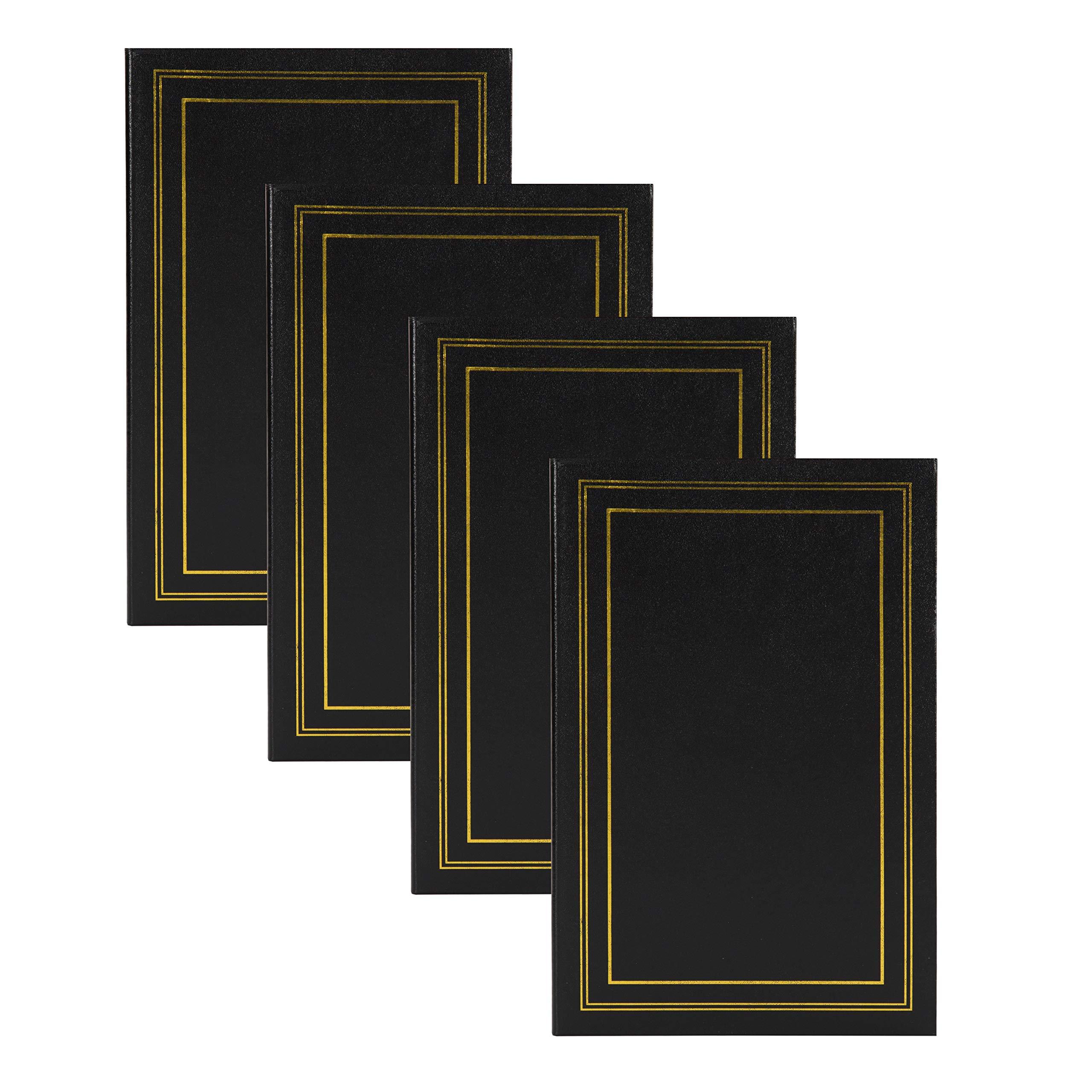 DesignOvation Traditional Photo Album Set of 4, 300, Black by DesignOvation