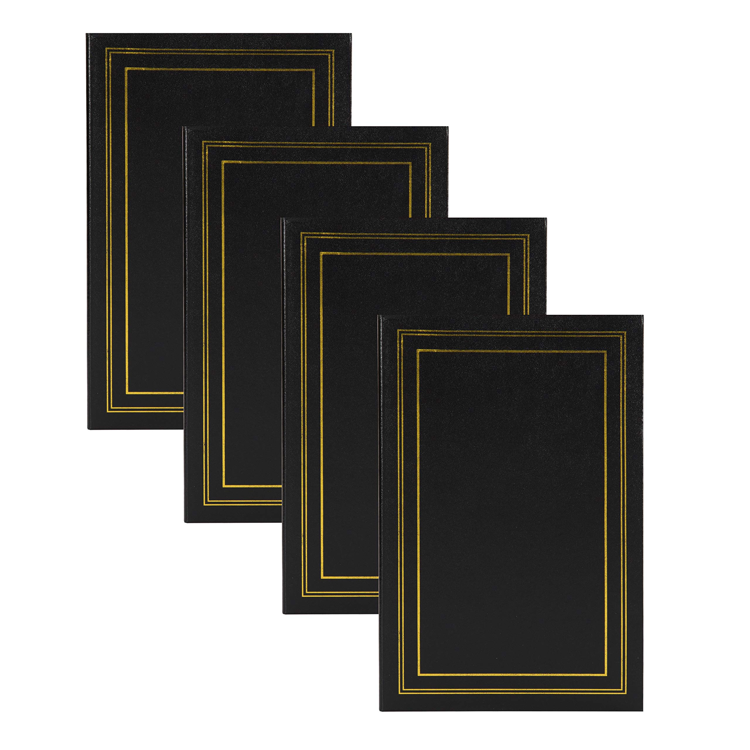 DesignOvation Traditional Photo Albums, Holds 300 4x6 Photos, Set of 4, Black