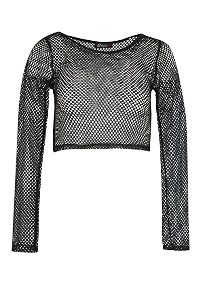 Amazon.com: Oops Outlet mujer Mini Crop parte superior Mesh ...