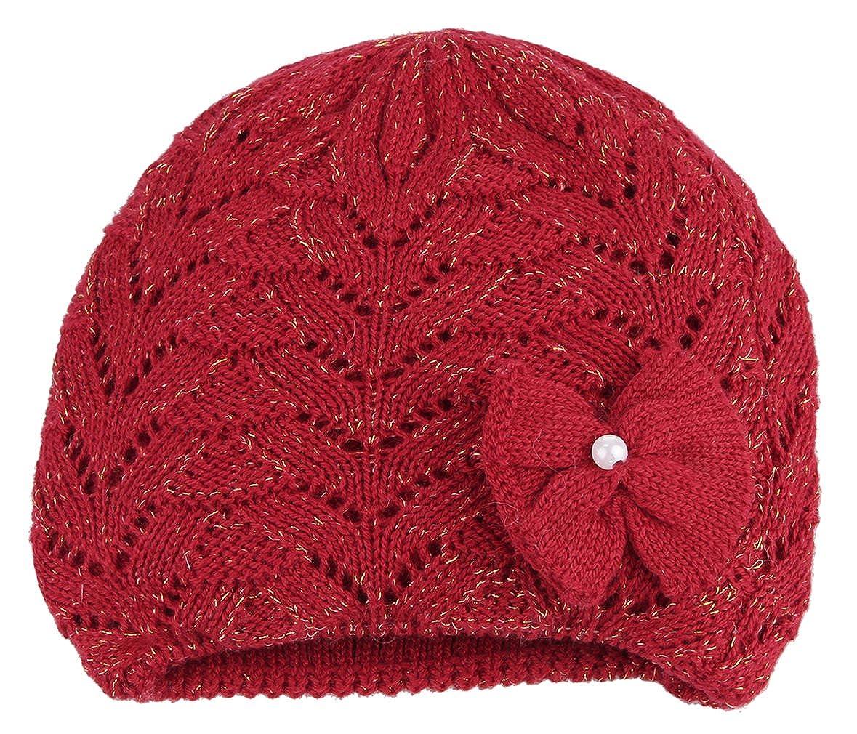 GEMVIE Chapeau Bonnet Naissance Deux Doublure Épais Tricot Laine Bob Bébé Chaud Automne Hiver (Rouge)