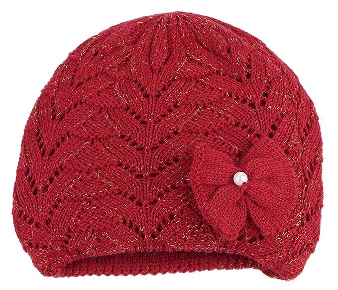La Vogue-Cappello Lana Hollow con Fiocco Strass Bambina Berretto a Maglia  Beanie Bimba Elastico Rosso 44-48cm  Amazon.it  Abbigliamento d25a421acc71
