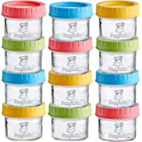 PandaEar (12 Pack) Glass Baby Food Storage Jars | 4 oz Reusable Small Containers Freezer Storage with Airtight Lids Leak…