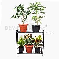 D&V ENGINEERING Metal 2-Tier Indoor Outdoor Multi-Purpose Flower Plant Pot Display Tray Shelf (26-inch, Black)