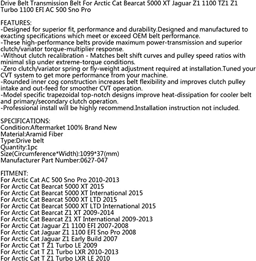Arctic Cat Drive Belt 0627-047 Jaguar Z1 TZ1 Z1 Bearcat Arctic Cat 500