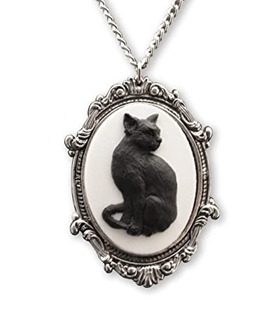 Black Cat Cameo in Antique Silver Finish Pewter Frame Pendant Necklace