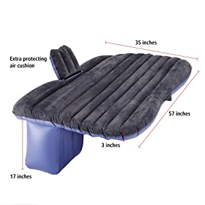 Pinty Car SUV Travel Inflatable Mattress Air Cushion Backseat Camping Rest Sleep w/ Pillow