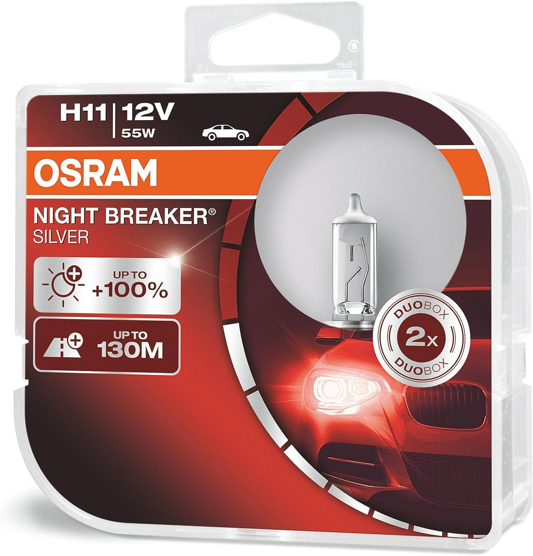 Osram Night Breaker Silver H11 100 Mehr Helligkeit Halogen Scheinwerferlampe 64211nbs Hcb 12v Pkw Duo Box 2 Lampen Auto