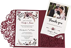 DORISHOME 4.7x7 Inch 50PCS Blank Burgundy Wedding Invitations Kits Laser Cut Hollow Rose Pocket Wedding Invitations with Envelopes For Wedding Bridal Shower Engagement Invite