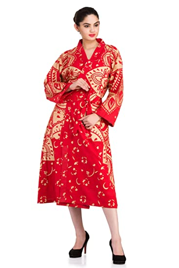 39ef59984e Buy Handicraft-Palace Cotton Women s Long Bathrobe Gown Nightwear - Gold  Ombre Mandala by Online at Low Prices in India - Amazon.in
