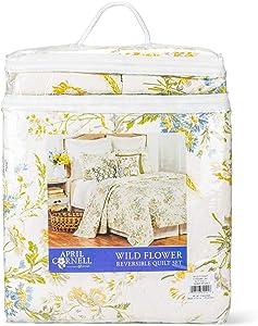 C&F Home Green Wildflower Blue Floral 90 x 92 Cotton Luxury Full Queen Quilt 3 Piece Set