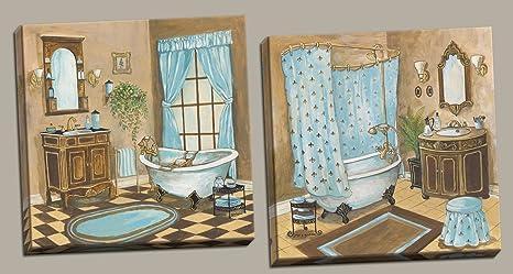 Vasca Da Bagno I Francese : Francese blu polvere per vasca da bagno lavabo e specchio set