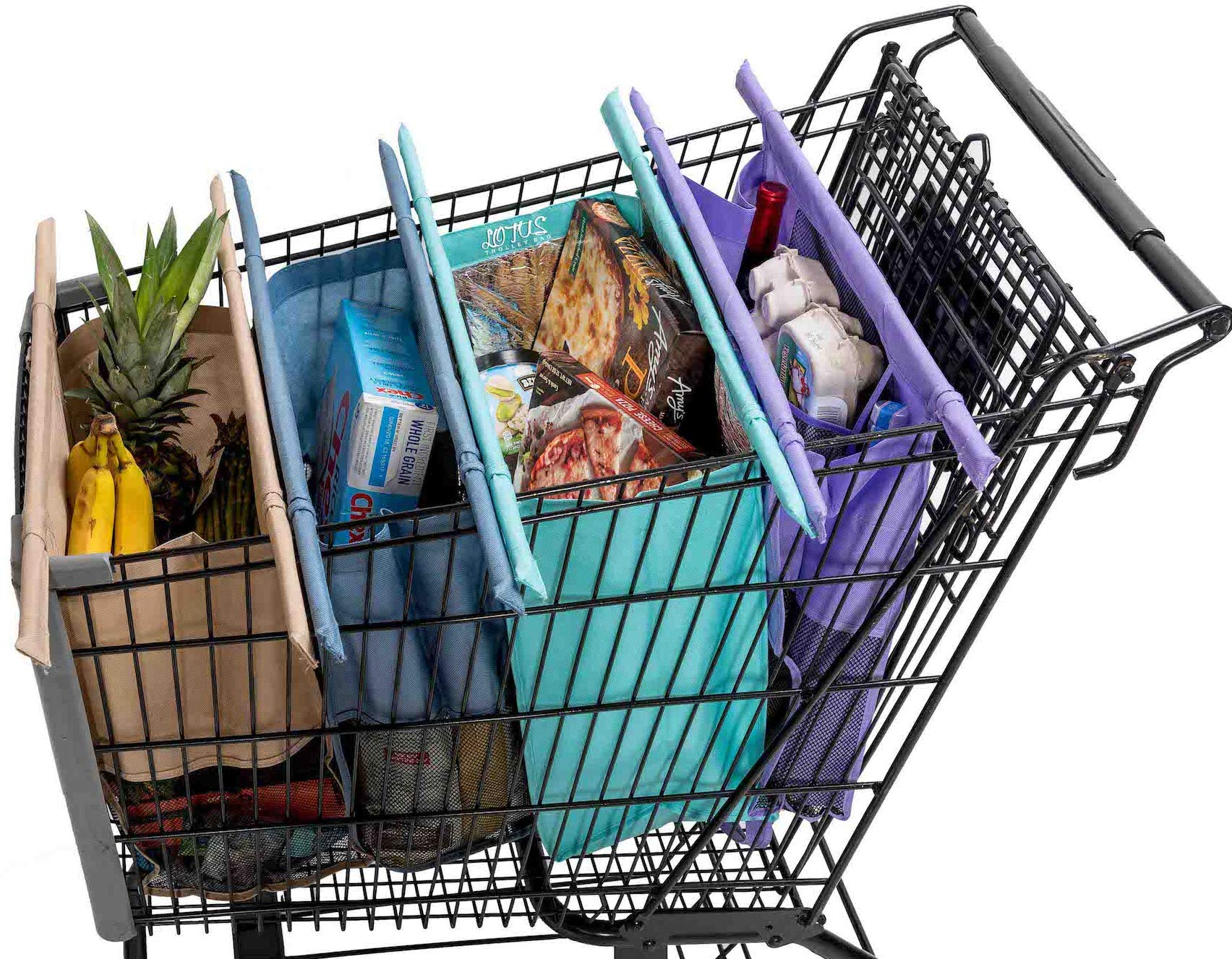 Lotus Trolley Bags -set of 4 -w/LRG COOLER Bag & Egg/Wine holder! Reusable Grocery Cart Bags sized for USA. Eco-friendly 4-Bag Grocery Tote. (Purple, Turquoise, Blue, Brown,) by LOTUS TROLLEY BAG ECO-FRIENDLY. REUSABLE. BEAUTIFUL.