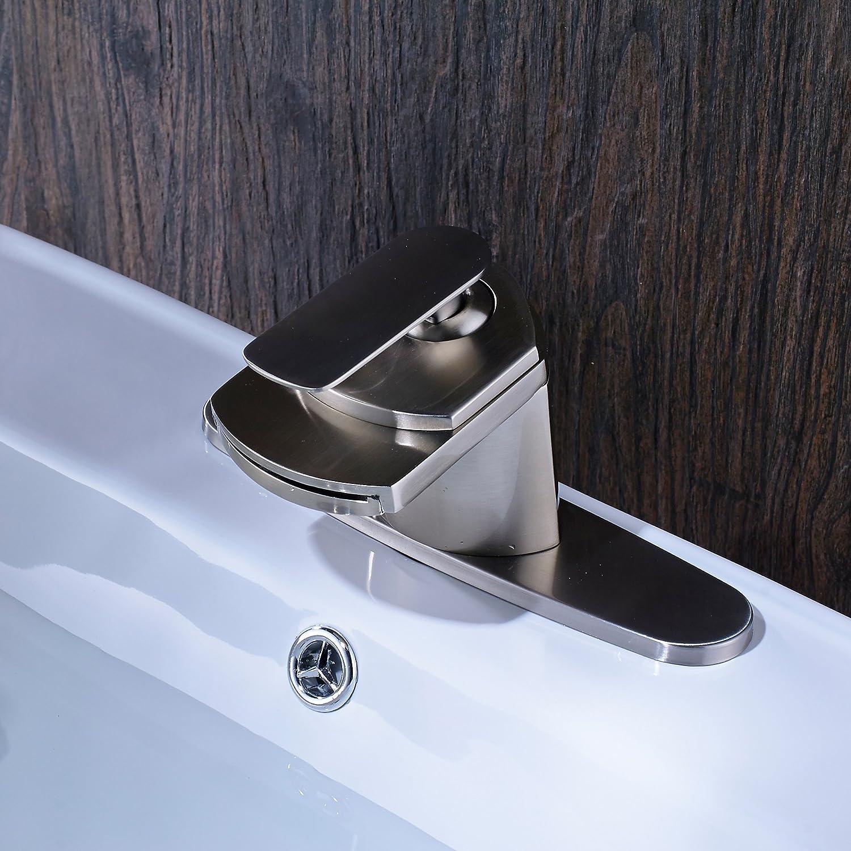Senlesen Nickel Brushed Single Handle Waterfall Bathroom Sink Vessel ...
