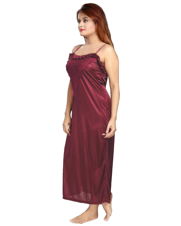 275145dc0b Be You Fashion Women Satin Maroon Lace 2 piece Nighty Set at Amazon Women s  Clothing store