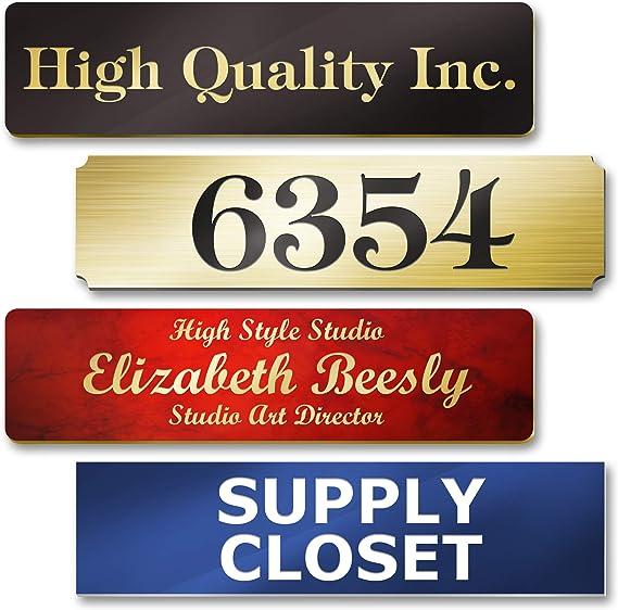 Plate Engraved Entrance Door Custom Cabinet 3 lines format 75 x 150 MM
