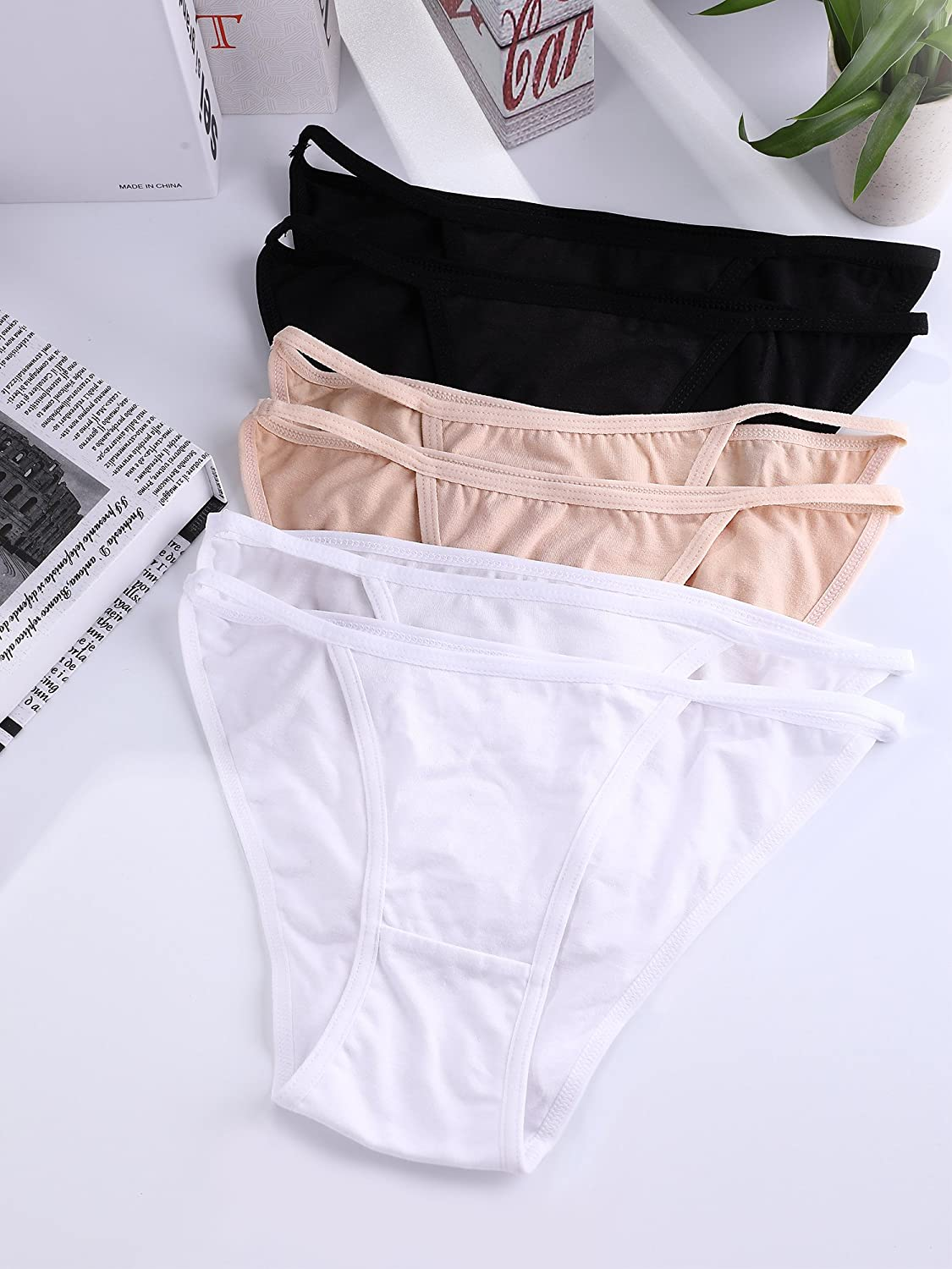 59a1f32f5fe3 BOAO 6 Pieces Women Bikini Underwear Cotton Bikini Panties Low Rise String  Lingerie, S - larger image