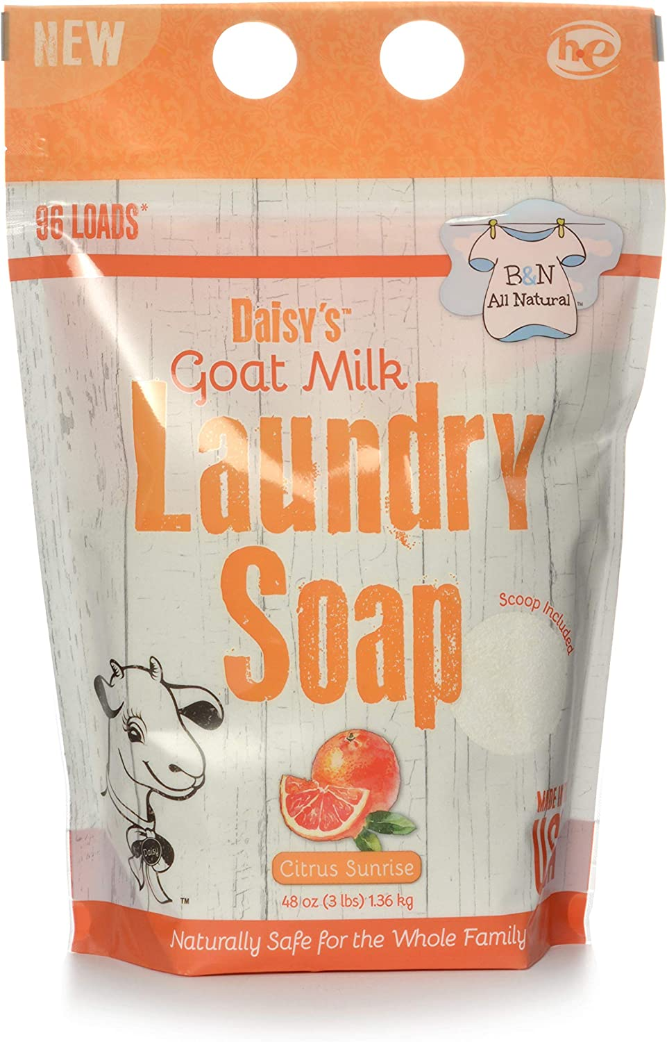 Brooke & Nora at Home, Daisy's Goat Milk Laundry Soap, Citrus Sunrise, 96 Loads