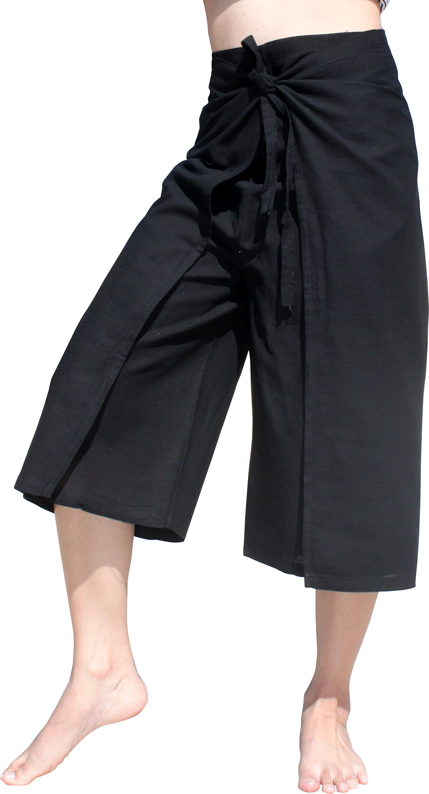 RaanPahMuang Drive In Wrap Pants In Summer Plain Mixed Cotton, Medium, Muang Cotton - Black by RaanPahMuang
