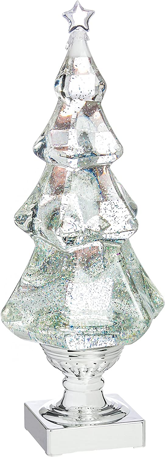 Cypress Home Beautiful Christmas LED Liquid Motion Glitter Christmas Tree Table Top Décor - 5 x 5 x 14 Inches Indoor/Outdoor Decoration for Homes, Yards and Gardens