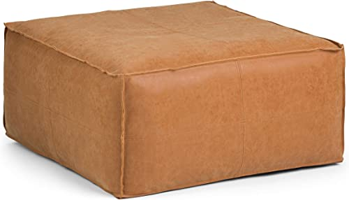 SIMPLIHOME Brody Large Square Coffee Table Pouf