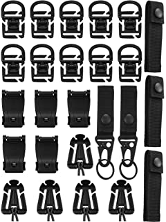 Tactical Key Ring Holders,360 Rotation D-Ring Clips Kit of 24 T/áctico Molle Attachment,Attachments for Tactical Backpack Vest Belt,Molle Elastic Strings,D-Ring Grimloc Locking,Web Dominator Buckle