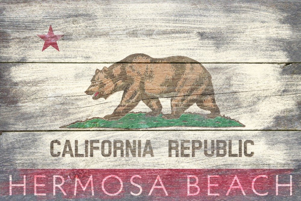 Hermosa Beach , California – 素朴なCalifornia State Flag 12 x 18 Art Print LANT-57295-12x18 B017Z6XGKC 12 x 18 Art Print12 x 18 Art Print