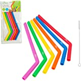 Reusable Straws- Set of 6 Silicone Straws with Cleaning Brush- Large Size Drinking Straws, Kid-Friendly, BPA Free