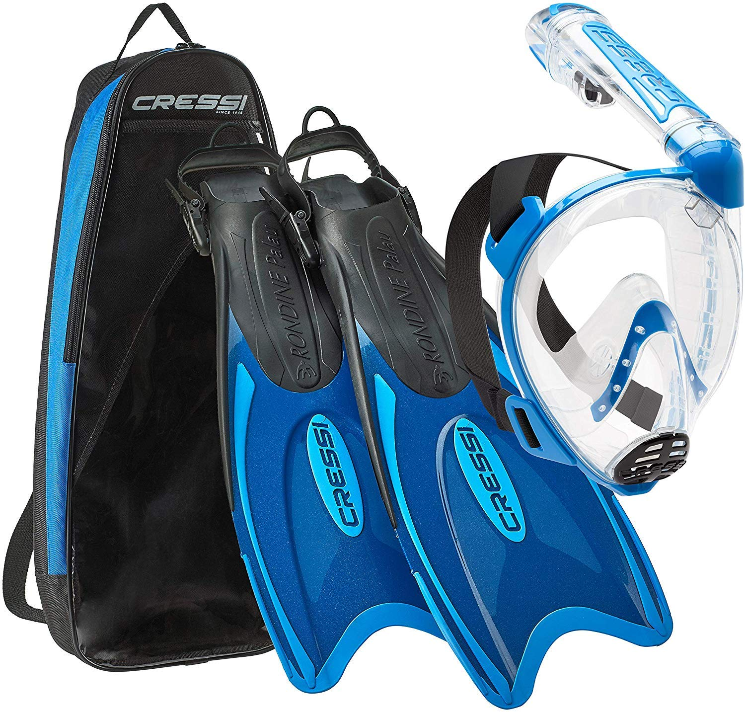 Cressi Italian Designed Premium 180° Full Face Snorkel Mask with Advanced Breathing System - Panoramic Side Snorkel Set Design - and Palau Long Snorkeling Fins and Snorkel Set Gear Bag, Blue - SM by Cressi