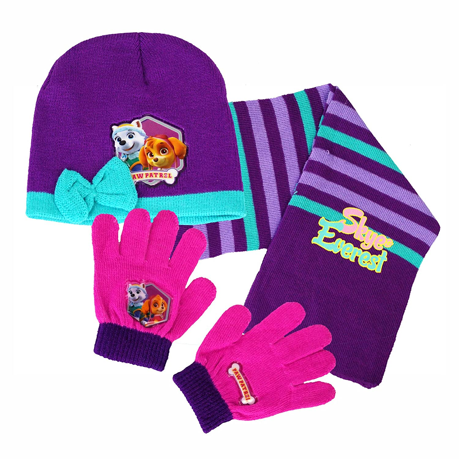 Nickelodeon® Official Paw Patrol Girls Boys Unisex Hat, Glove & Scarf Set featuring Paw Patrol Characters Warm Winter Essentials Licensed Merchandise.