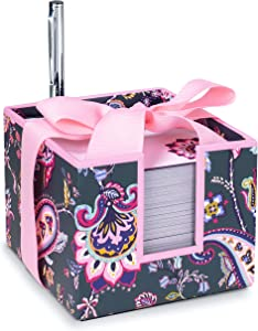 "Vera Bradley Pink/Grey Note Cube with Black Ink Pen, 3.75"" x 3.75"" with 400 Sheets, Felicity Paisley"
