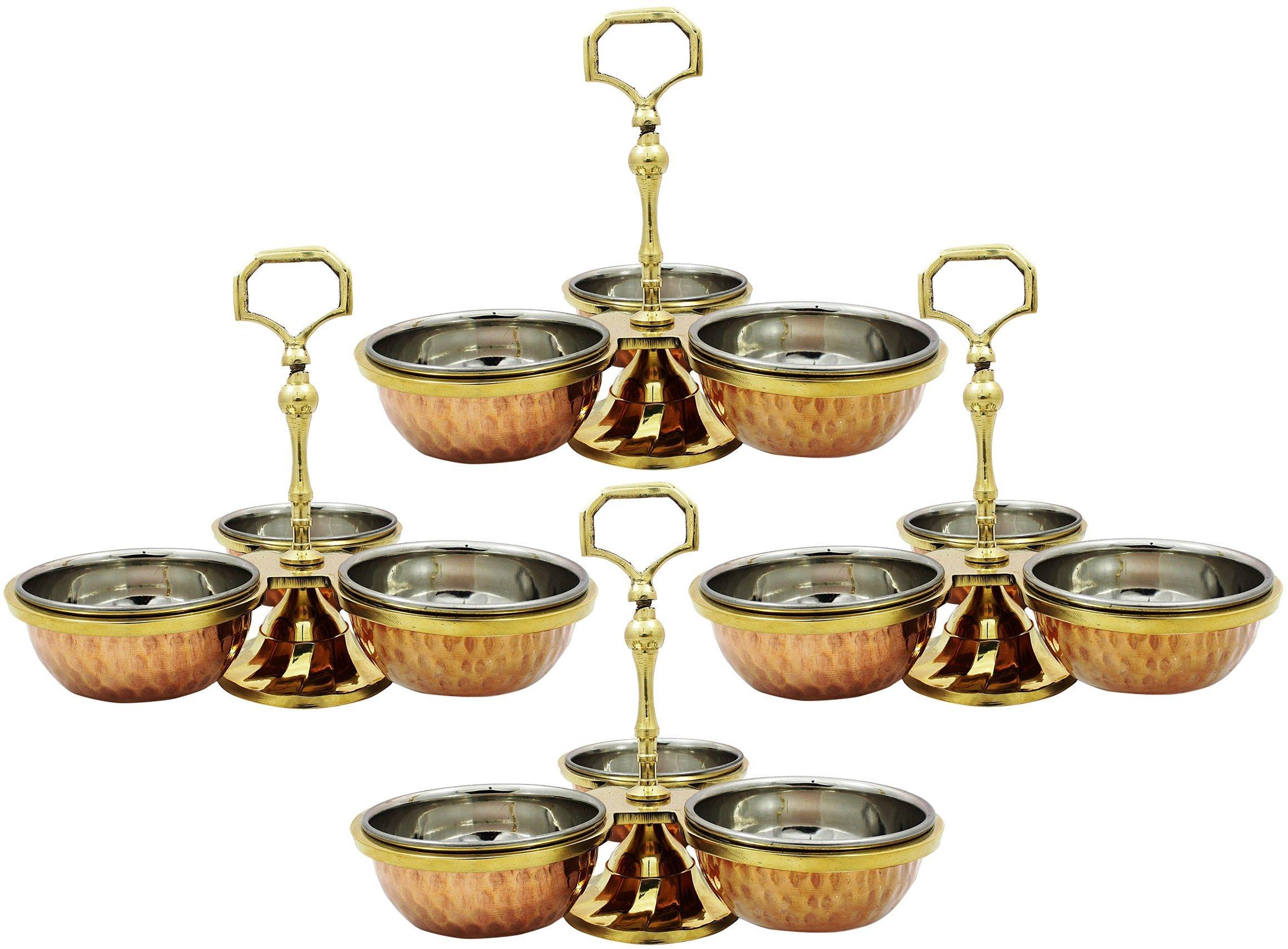 SKAVIJ Set of 4, Condiment Serving Set Copper Stainless Steel Pot for Pickle or Spices