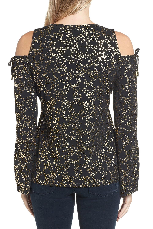 83fd5483e6c5a Michael Michael Kors Women s Metallic Cold-Shoulder Top (Black Gold ...