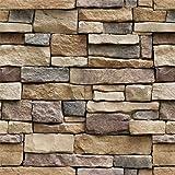 "Yancorp 18""x120"" Stone Brick Wallpaper Stick On Self-Adhesive Peel and Stick Backsplash Wall Panel Removable Home…"