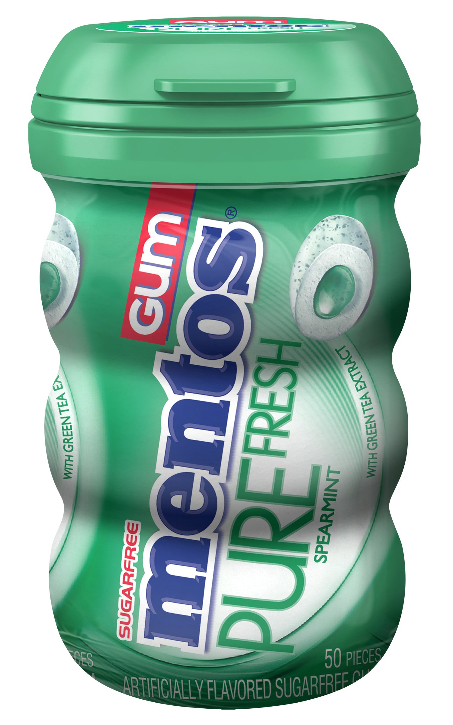 Mentos Pure Fresh Sugar-Free Chewing Gum with Xylitol, Spearmint, 50 Piece Bottle