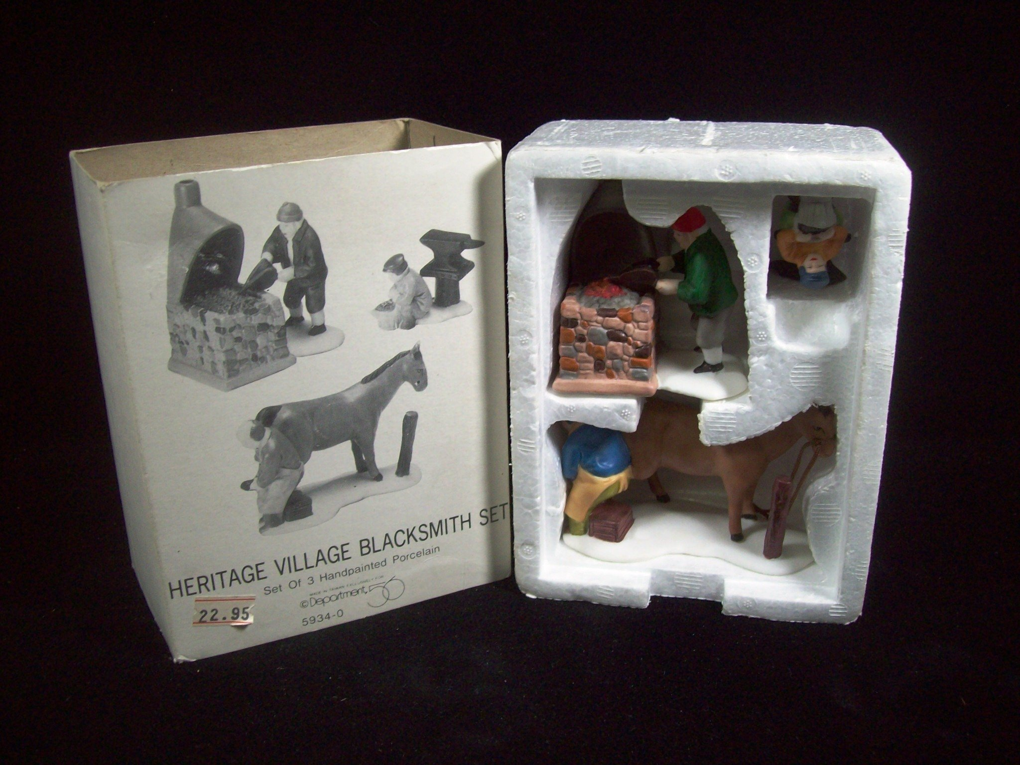 Department 56 Heritage Village Collection ; Dickens Village Blacksmith Set of 3 ; 1987 Retired ; Handpainted Porcelain Accessories #5934-0