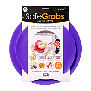 Safe Grabs As Seen on Shark Tank: Multi-Purpose Silicone Microwave Mat, BPA Free Kitchen Tool, Set of 2