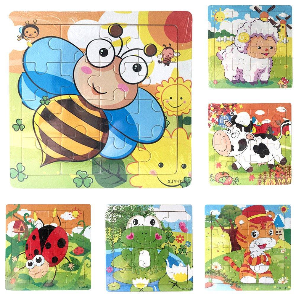 Gbell キュートな木製動物&乗り物ジグソーパズルセット 14.8×14.8×0.5cm カラフルなジグソーボード 教育玩具 3~8歳の女の子 男の子 キッズ B07K9KX15D 17 Pcs (All Colors) 17 Pcs (All Colors)
