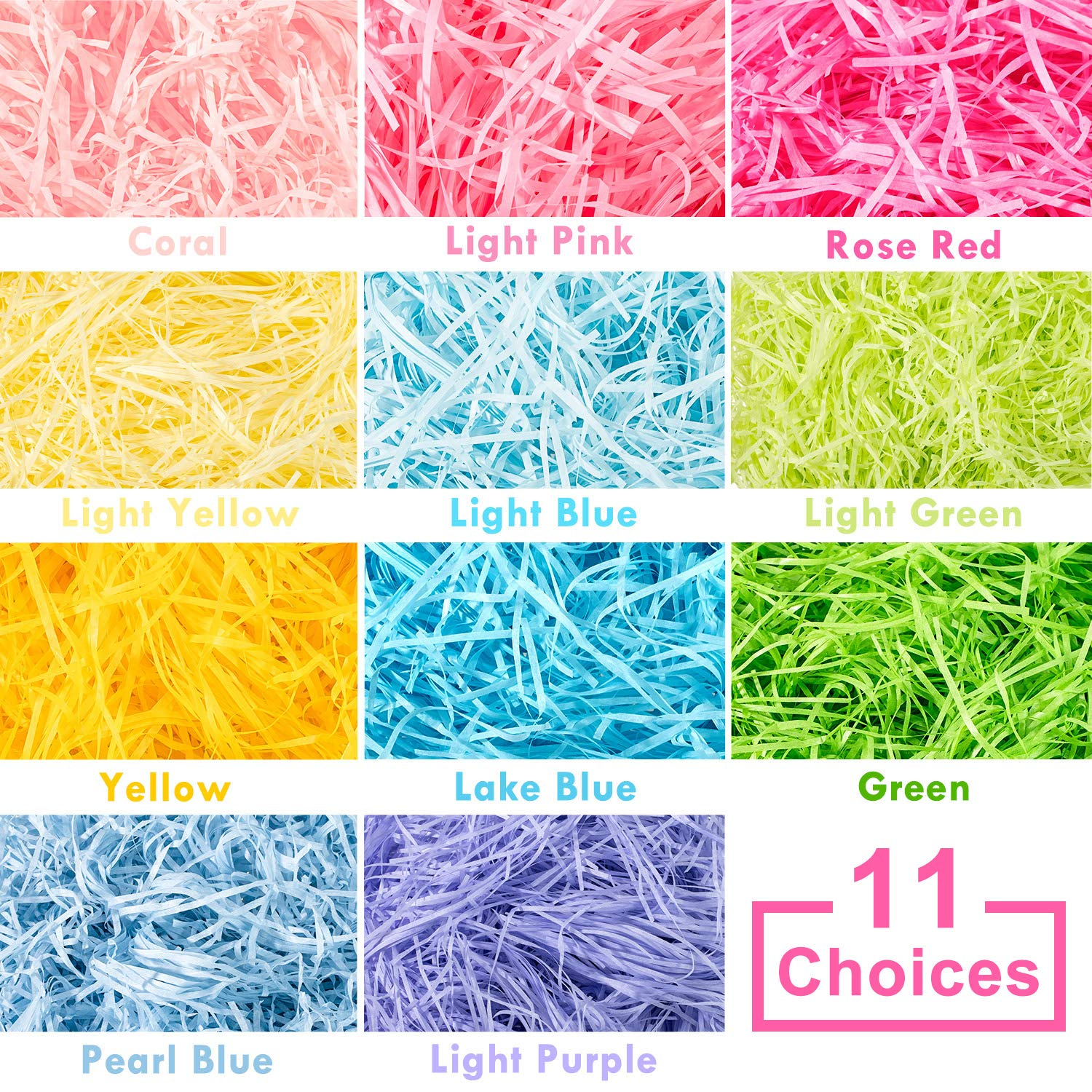 Whaline Easter Basket Grass Craft Shredded Tissue Raffia Gift Filler Paper Shreds for Baskets Egg Stuffers for Spring Party Supplies Accessories Decorations Yellow