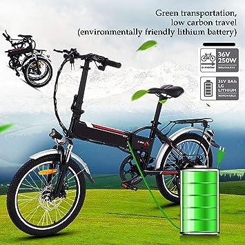 Bunao Bicicleta eléctrica de montaña, 250W, Batería 36V E-Bike Sistema de Transmisión de 21 Velocidades con Linterna con Batería de Litio ...
